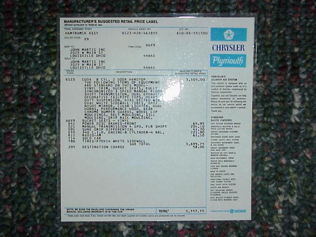 1972 Cuda Original Invoice